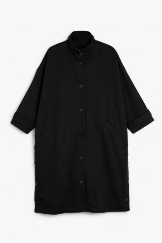 Monki Image 2 of Cotton trench-inspired coat in Black