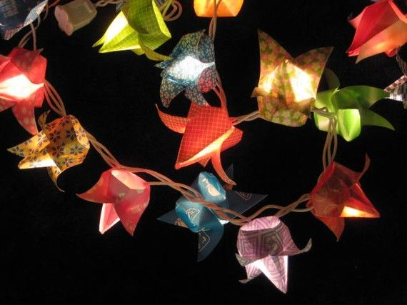 I want these strung all around my yard!    Origami Tulip string lights by OrigamiByWingy, $45.00