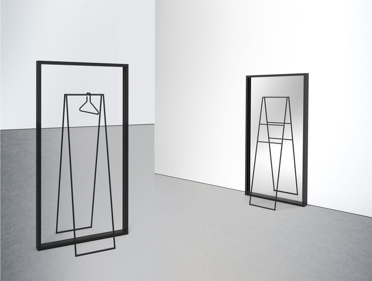 SPIEGELBILD A rack with an optical illusion #rack #interior #transparent #mirror #metal #designwithastory #illusion