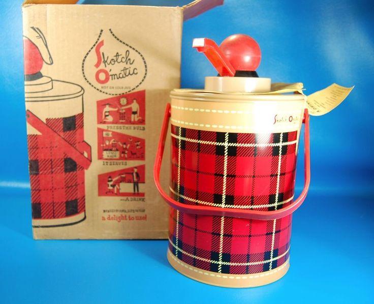Vintage Plaid Skotch Kaddy Kooler 1 Gal. Hamilton Picnic Cooler Bucket Pump Box