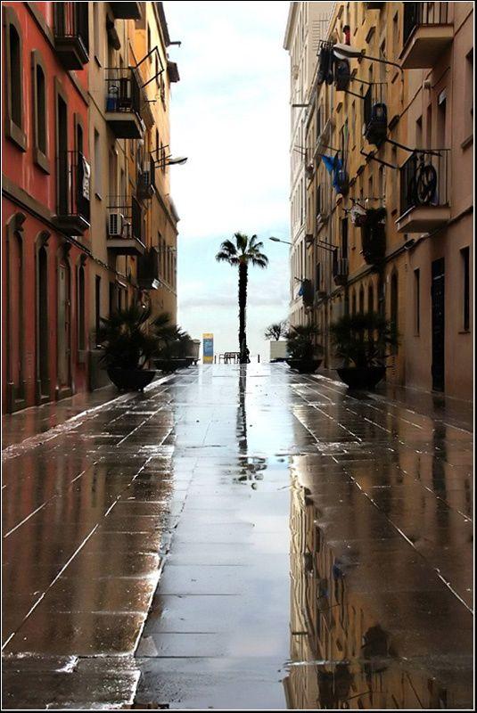 Barceloneta after the rain  Barcelona, Spain