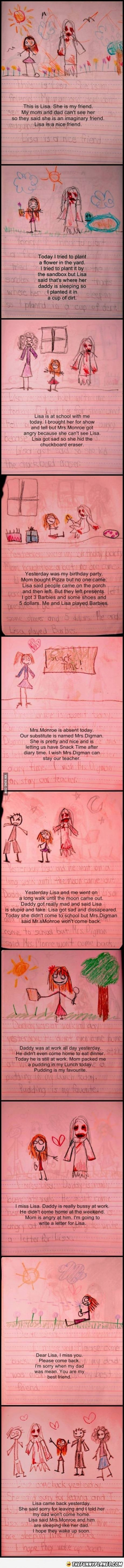 I thought this was just a journal entry from a little girl. Until I read it and saw how creepy it was! <<< is this real? :O