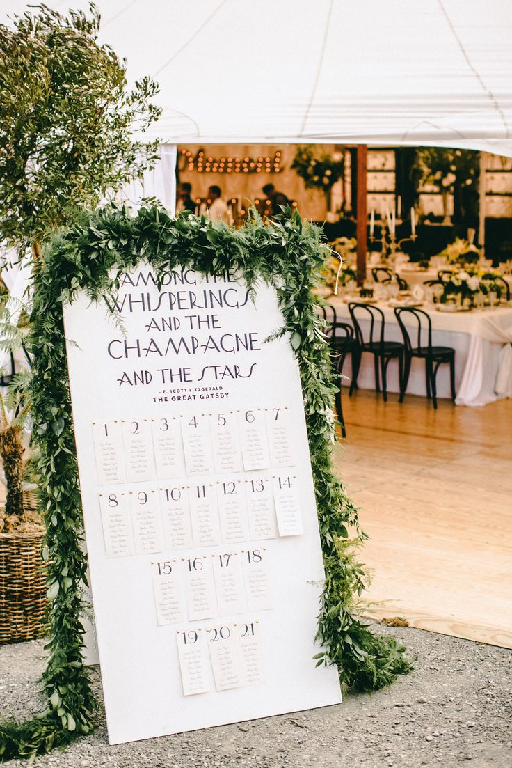 Seating Chart by EnjoyEventsCo.com |Photography: ScottAndrewStudio.com: | Greenery and Floral Garland Wedding Decoration | fabmood.com #garland #weddingreception #seatingchart