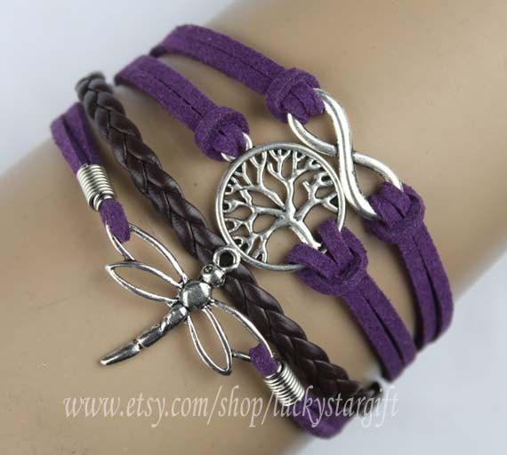 Infinito, árbol de la vida, libélula pulsera en plata púrpura de cuerda de algodón negro de cuero trenzado brazalete personalizado su propio color-regalo Q677