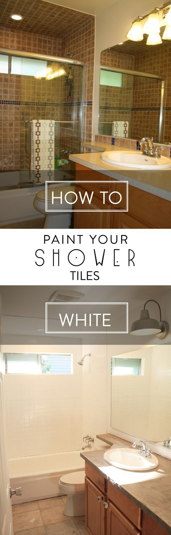 AWESOME!  Learn How to Paint Shower Tiles.  You can update your shower on a budget.  Full tutorial by Petite Modern Life for Designer Trapped in a Lawyer's Body.