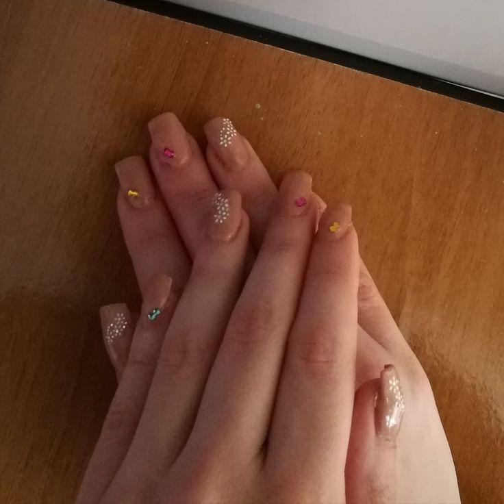 Prima ricostruzione unghie con cartina 😊 Nails beige,spring and flowers.