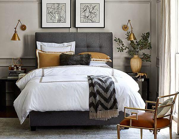 gold & grey #upholstery #headboard #interiordesign
