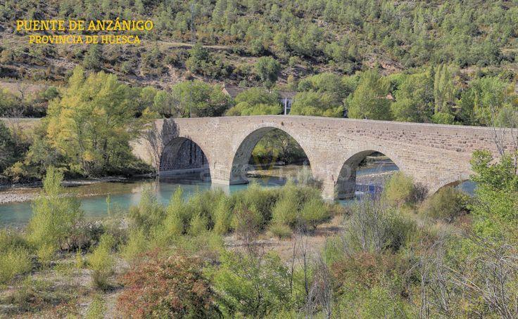 #Anzánigo #Huesca puente medieval sobre el río Gállego