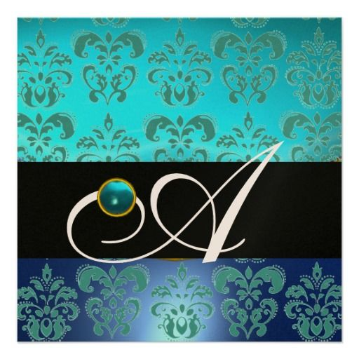 BLUE TURQUASE BLACK CHAMPAGNE DAMASK MONOGRAM INVITATION