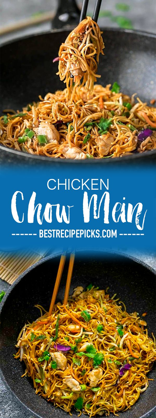 Chicken Chow Mein Noodles is the perfect easy ONE PAN meal for busy weeknights. Best of all, this authentic Chinese restaurant quality recipe comes together in 20 minutes so you can skip the takeout! #asian #noodles #chowmein