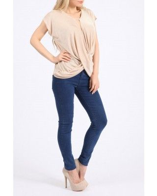 Stone Sleeveless Slinky Crossover Top