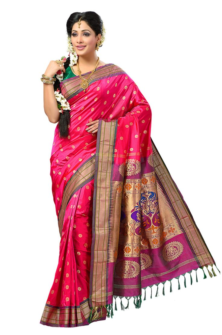 Pure silk Zari Woven pink saree with multicoloured pallu which gives the wearer a graceful appearance and makes the wearer look traditional and trendy at the same time