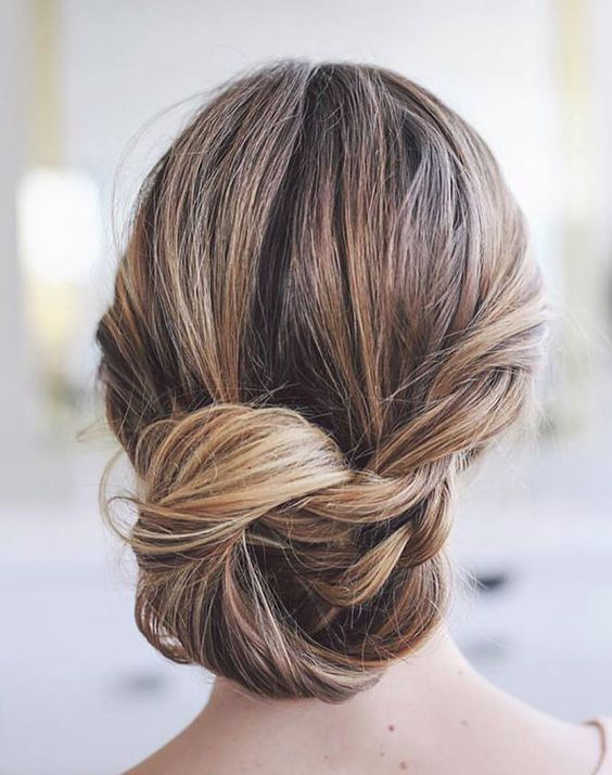 Classic loose side twist low chignon updo wedding hairstyle