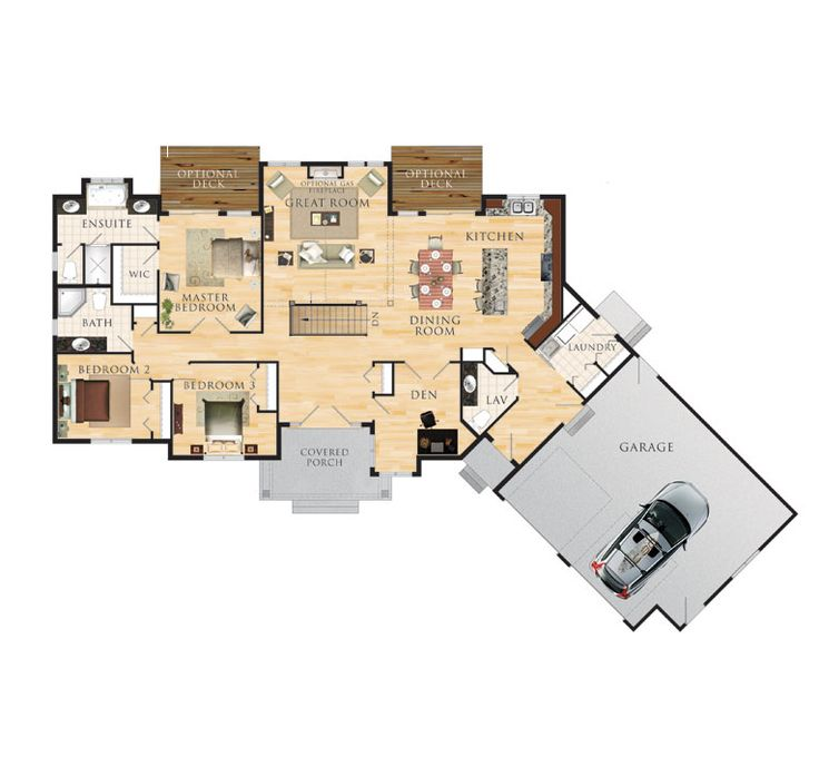 Eddystone floor plan 2 000 square feet angle garage for Angled garage house plans