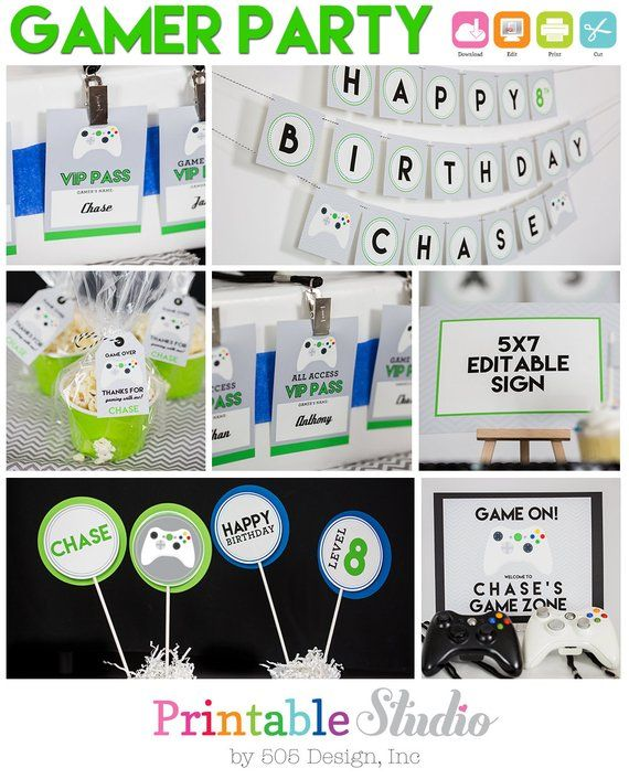 Video Game Party Decorations Instant Download Gamer Birthday Party