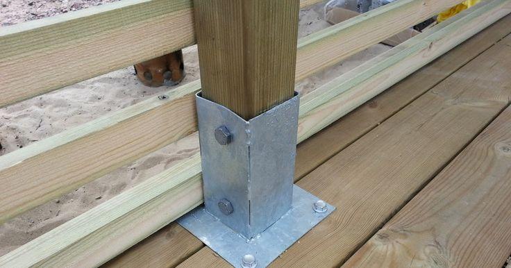 Vi bestämde oss för att bygga ett vindskydd på trädäcket. Ville få en modern look på det så jag fick tryckimpregnerade 45x45 reglar klyvda o...