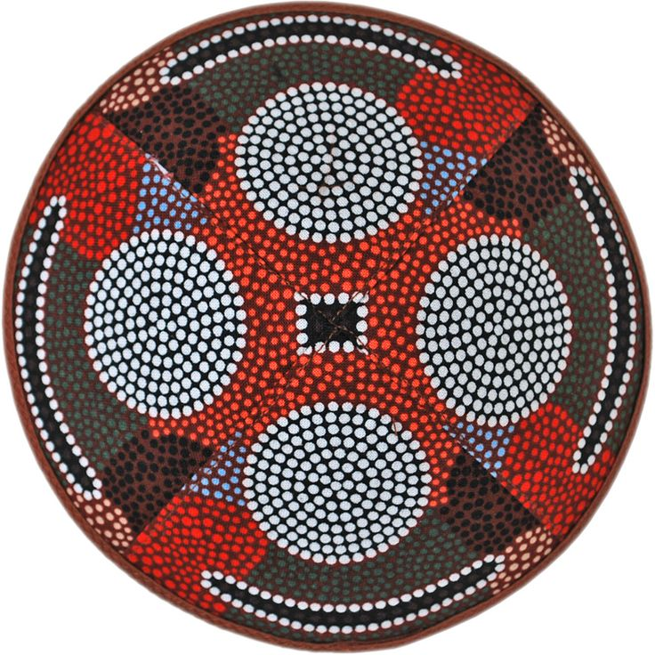 Design kippah from our Dreamtime series. Handmade traditional head covering. Australian Aboriginal art fabric.