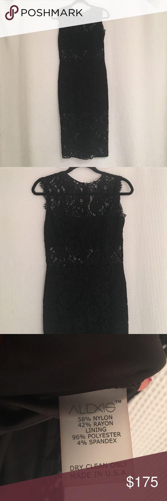 Alexis black lace pencil dress size medium Alexis black lace dress sleeveless size medium worn once. Gorgeous and flattering. alexis Dresses Midi