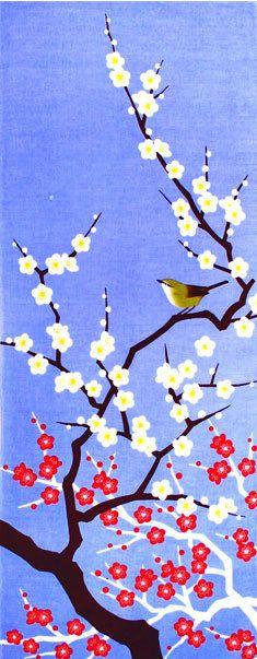 bird in flowering tree - 四季彩布てぬぐい梅と鶯二月