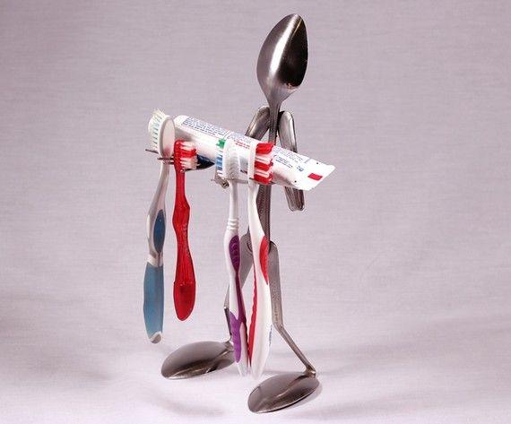 repurposed forks for toothbrush holders