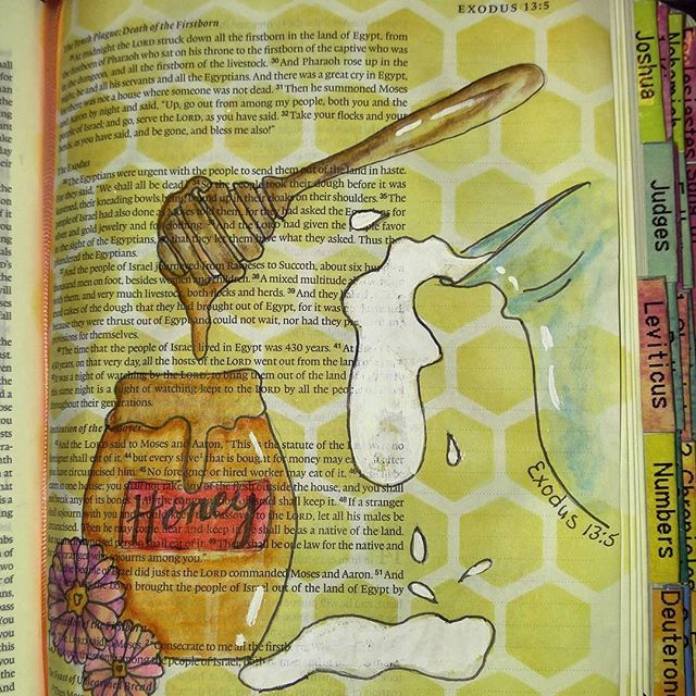 He swore to your father's to give you a land flowing with milk and honey. Exodus 13:5 #biblejournaling #biblestudy #bibleart #creativelyinspired #create #journaling #journalingbible #faithinheart #faithful faithfulart #blessed #illustratedfaith #documentedfaith #exodus #inspiredart #inspired #inGodsword #intheword #milkandhoney #dayspring #bible