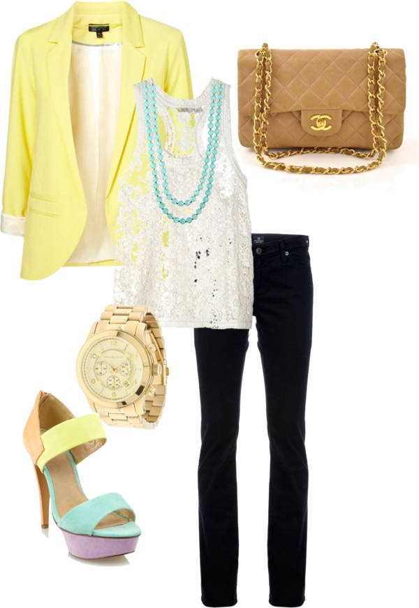 ., created by stylesiren on Polyvore: Dreams Closet, Summer Style, Blue Pants, Alisha, Styles, Enter Outfits, Summer Night, Yellow Blazers, My Style