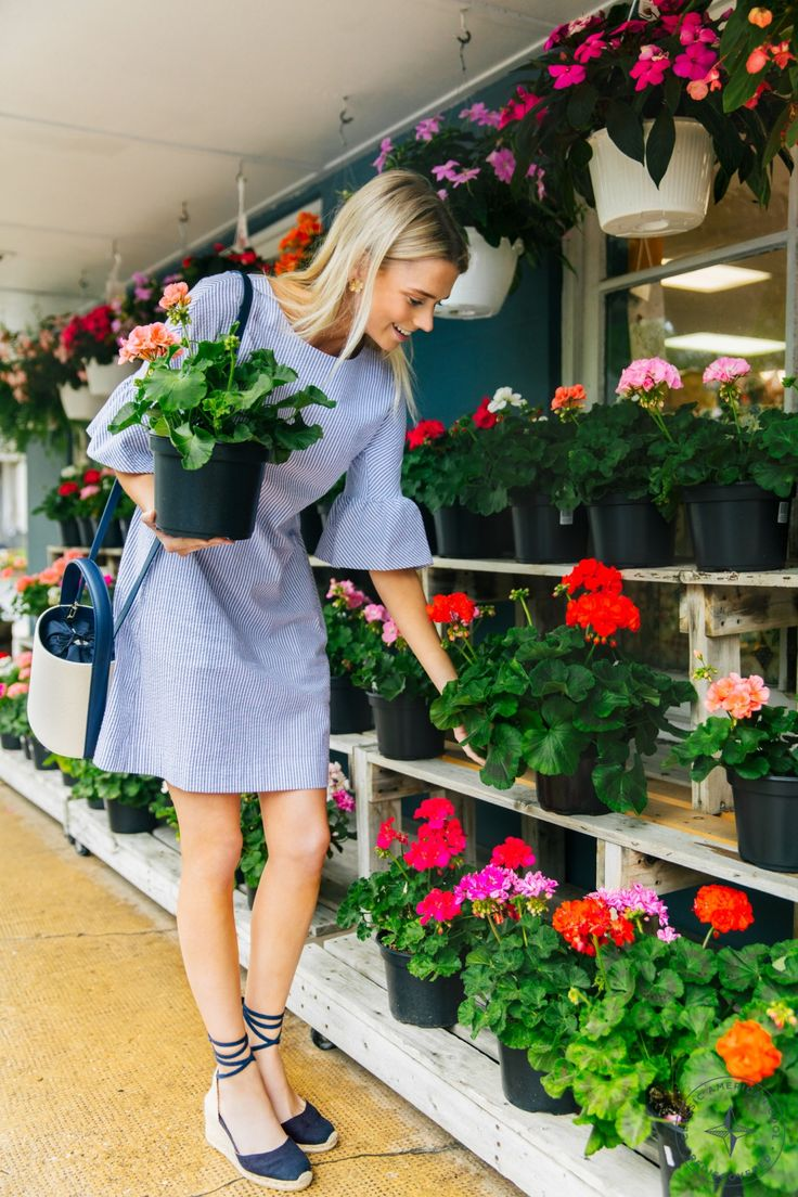 Picking out your own flowers is even more fun when you are wearing a cute dress.