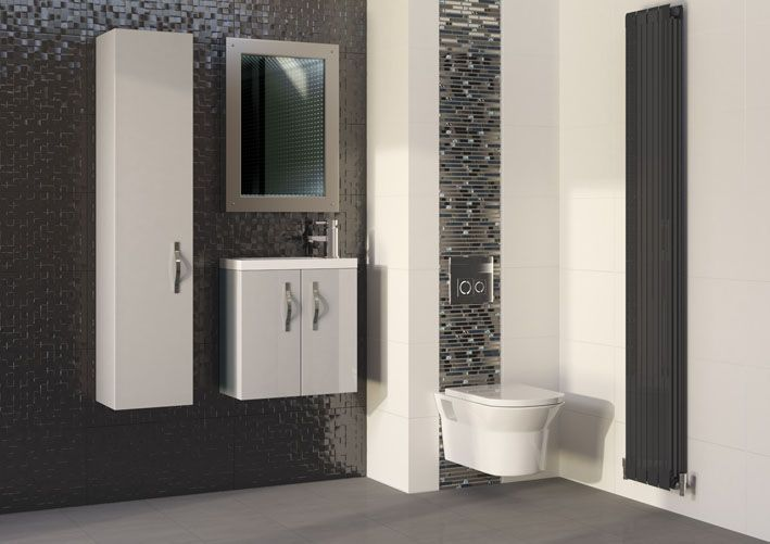 Create a designer European wall hung look with Apollo that's also a dream to maintain.  Position the toilet at height to suit you while we've positioned the mirror, vanity unit and tall unit symmetrically.