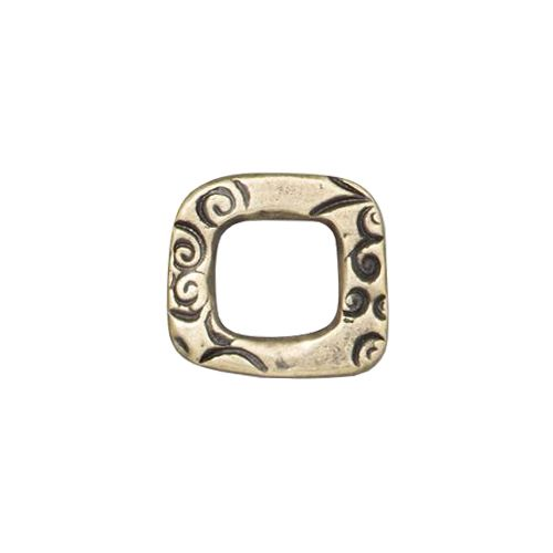 Pewter 12mm Jardin Square Link with a brass oxide finish designed and manufactured by TierraCast. Each link is 12mm high x 13mm wide and 1.8mm thick. This link has an organic square shape with a 7mm cut-out center. The link is covered with abstract floral and leaf patterns on either side.