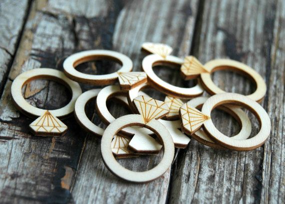 10 pcs . Wedding Ring Wood Tags . Bridal Shower by DancingMooney