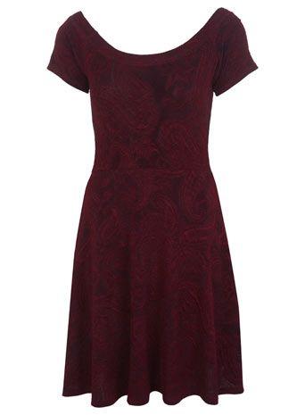 Paisley Textured Skater Dress - Dresses  - Clothing