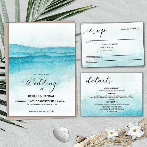 Beach Wedding Invitation Template Set Printable Instant Etsy Ocean Wedding Invitations Coastal Wedding Invitations Wedding Invitation Sets