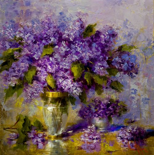 "Oil painting ""Lilacs"" 24 x 24 inches by Artist Nora Kasten"