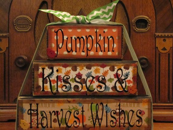 Fall Sign - Pumpkin Kisses and Harvest Wishes, Fall Decor Word Blocks Sign  Like the saying not the style so much