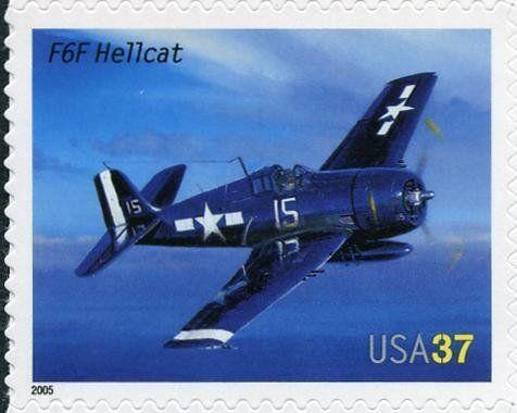 Stamp: F6F Hellcat (United States of America) (American Advances in Aviation) Mi:US 3946,Sn:US 3918,Yt:US 3671