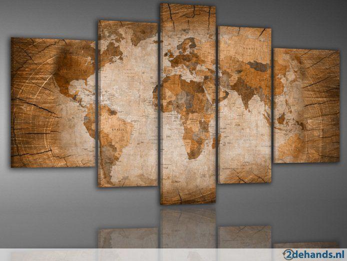 262 Wereldkaart Schilderij / Print / 5 luik XXL 200x100 cm (BxH) De volledige maat is : Breedte 200 x Hoogte 100 cm De afzonderlijke maten zijn :...