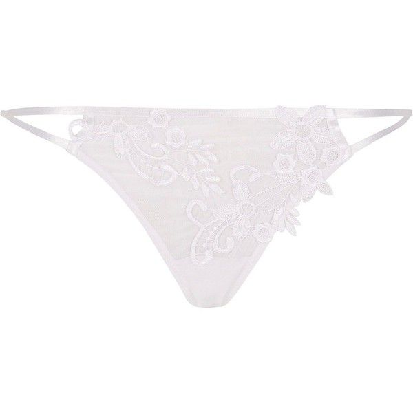 River Island White appliqué knickers (62 BRL) ❤ liked on Polyvore featuring intimates, lingerie, lingerie &amp sleepwear, white, women, river island, white lingerie, white knickers and floral lingerie