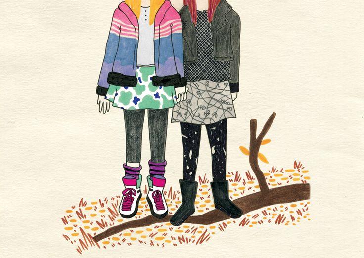 "Panda and Effy, ""Skins""  Illustration by Marta Baroni"
