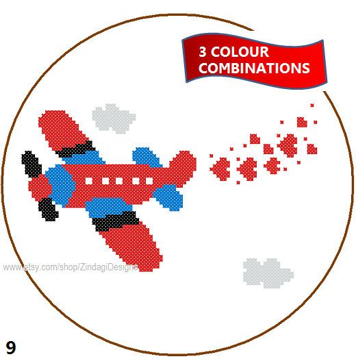 CROSS STITCH PATTERN (Patterns are in both Single page and multi-page enlarged format for easy reading)  Aeroplane pattern for nursery in 3 colour combinations .  ~~ Dimension of the pattern 88 (W) x 50 (H) stitches  Finished Dimensions of aida 10 ct aida - 22.35 (W) x 12.7 (H) cm /8.8 (W) x 5 (H) inches 14 ct aida - 15.98 (W) x 9.07 (H) cm /6.29 (W) x 3.57 (H) inches 18 ct aida - 12.42 (W) x 7.06 (H) cm /4.89 (W) x 2.78 (H) inches  Suggested Round Frame Sizes 10 ct aida - 10 i...