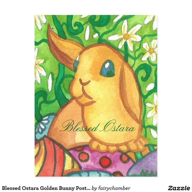 Blessed Ostara Golden Bunny Postcard