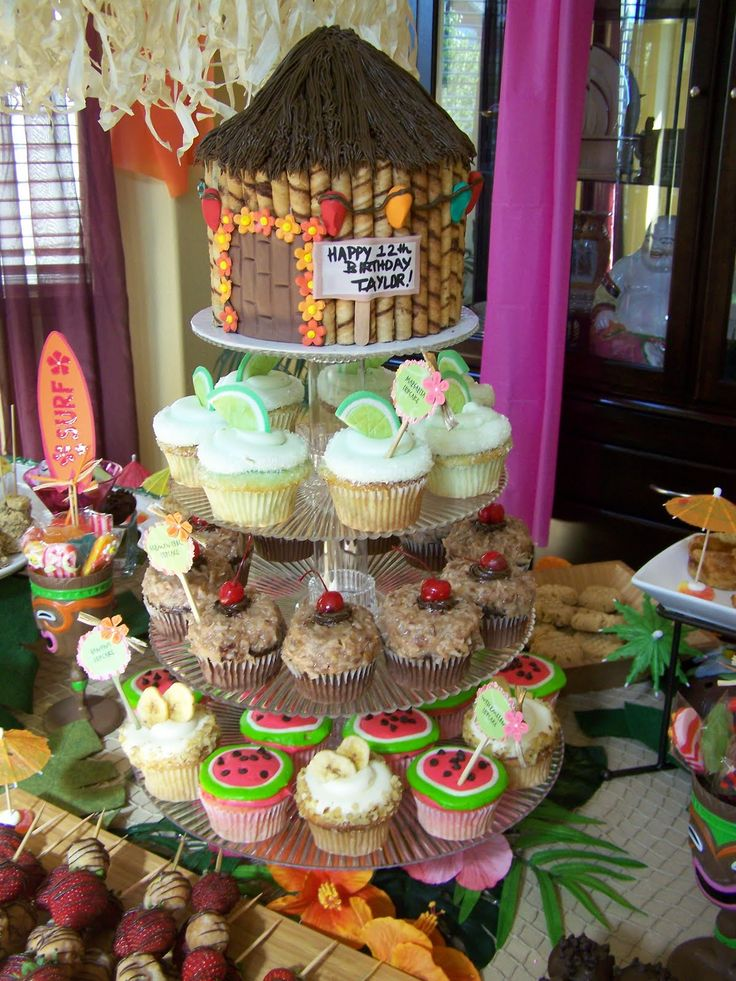 hawaiian decorated cupcakes | Pics below are Yummy cupcakes;Jenn and I; Jen, Jenn and I ; then Red ...