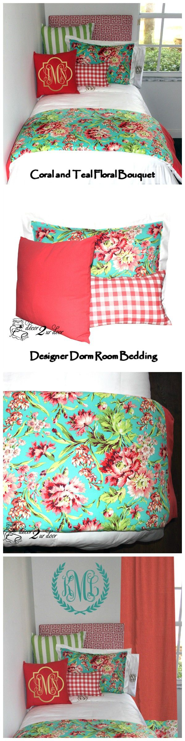 Coral floral dorm room. Coral and Teal dorm bedding. Decorate a dorm room. Dorm room bedding and décor. Dorm room decor trends. College dorm room bedding sets. College dorm room bedding sets. Design your own dorm room bedding. College dorm bedding ideas. Dorm bedding and accessories. Decor 2 Ur door bedding. Decorating a dorm room ideas.