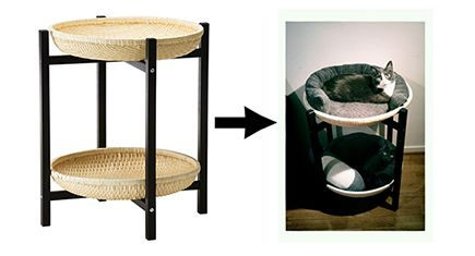 DIY Cat Hack: Ikea Trendig Tray Table Turned 2-story Cat Bed