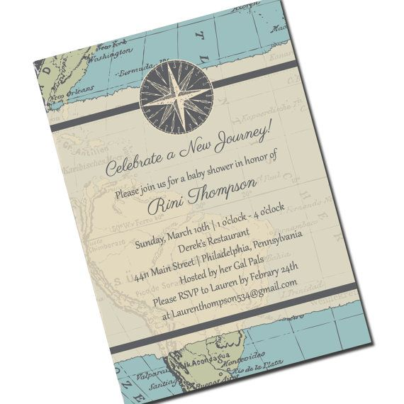 New Journey Invitation - Travel Themed Shower or Party on Etsy, $15.00