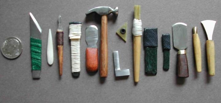 miniature bookbinding tools