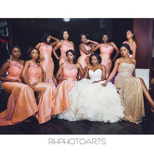 nigerian-bridesmaids-coral-pink-gold-wedding. Gold sequin Nigerian chief bridesmaid dress.