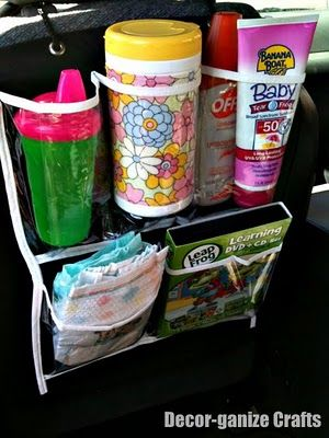dollar store shoe organizer for car...my OCD is making me want to run out and get this right now