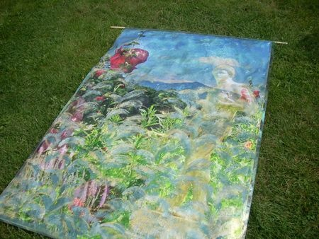 Garden banner of multi-layered garden and landscape photos printed on satin and painted with gold and iridescent colors, views of Saint-Gaudens National Historic Site, by artist/photographer Holly Alderman