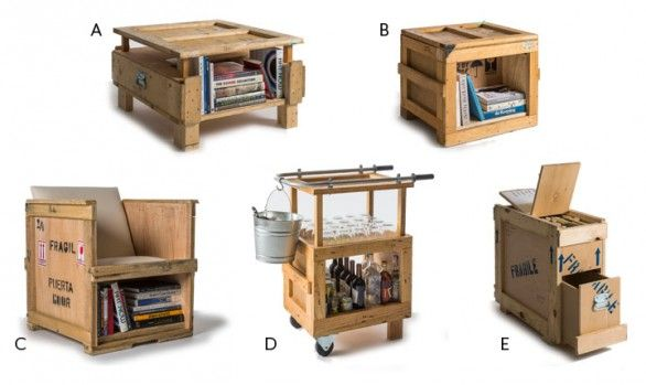 Mobili da ufficio ricavati dalle casse da imballaggio.