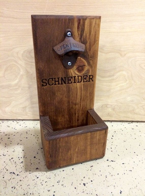 Personalized wood bottle opener with cap catcher wall mount or freestanding perfect handmade - Wall mounted beer bottle opener cap catcher ...